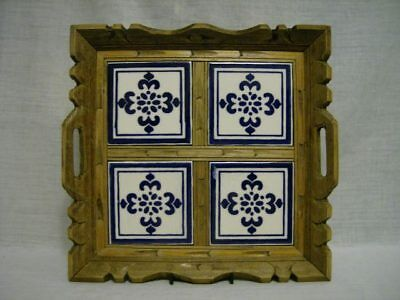 Vintage Carved Wood & 4 Tile Mexico Tray ~Cobalt & White Hp Tile~ 1