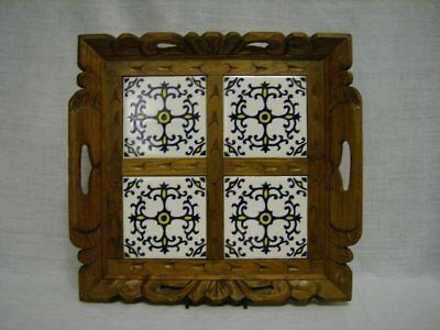 Vintage Carved Wood & 4 Tile Mexico Tray ~Cobalt/maze/white Hp Tile~ 4
