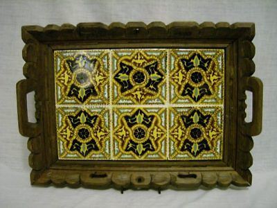 Vintage Carved Wood & 6 Tile Mexico Tray ~Multi Color Hp Tile~ 5