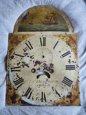 Antique Irish grandfather clock face / painted dial – Edw. Gribben – Belfast