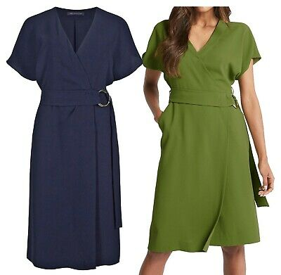 New Ex M&S Womens  RRP £35 Wrap Midi Dress Green Navy Short Sleeve Size 6-22