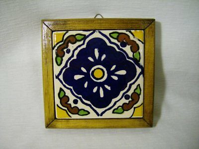 Vintage Wood Framed Hand Painted Mexico Tile Wall Hanging Trivet