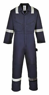 Portwest F813 Comfortable Lona Polycotton Navy Coverall with Reflective Tape