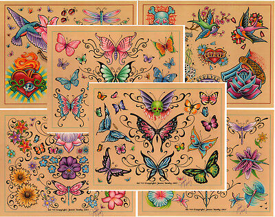 "Jeanie Newby 2007 Girl Tattoo Flash Set 11 Sheets with Lines 11x14"" Butterflies"