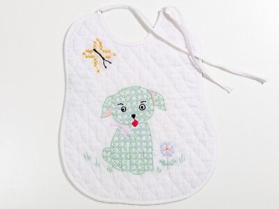 FREE SHIP: Vintage Hand Embroidered Quilted Baby Bib - Green Puppy Dog
