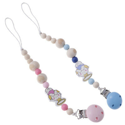 2PCS Infant Baby Dummy Chain Wood Pacifier Clip Bead Dummy Clip Teether Toy
