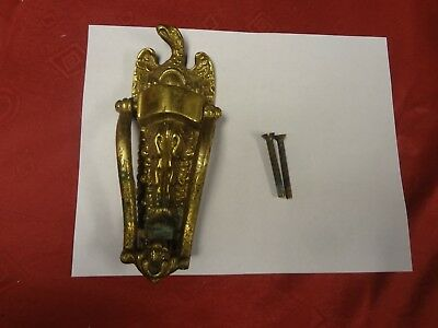Antique Brass Eagle Door Knocker, Large 8.25'' by 3.5''. Heavy Solid Brass. NICE