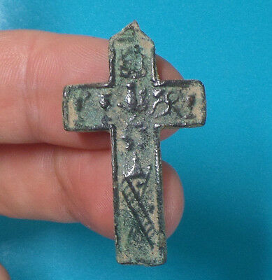 antique medieval era spanish catholic bronze cross pirate treasure