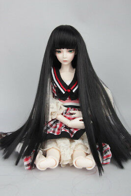 "Black Long Straight Wig Hair For 1/3 24""/60CM BJD SD LUTS AOD DK DZ DOLL"