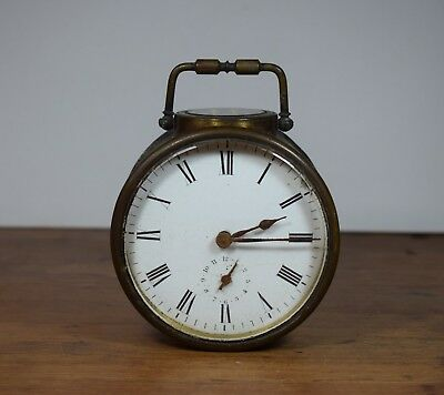 Vintage / Antique Unusual Brass Cased Clock / Selling For Parts