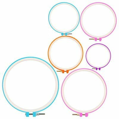 6 Pieces Embroidery Hoops Cross Stitch Hoop Circle Set for DIY Art Craft E4E9