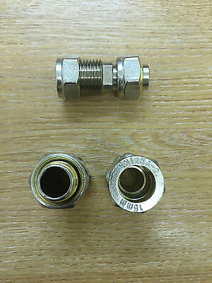 1 x 15 mm Straight Connector / Coupling - BS EN 1254 - Supplied As Pictured