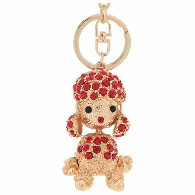 Crystal Rhinestone Poodle Dog Pendant Key Ring Handbag Car Key Chain Red L4L9