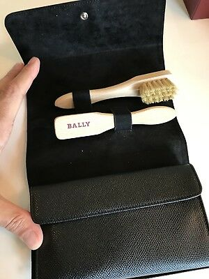 200$ Bally Black Leather Travel Shoe Shine Set