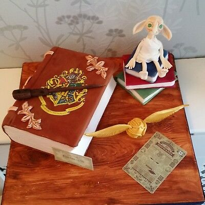Edible Harry Potter Doby, Wand, and golden snitch, platform ticket personalised