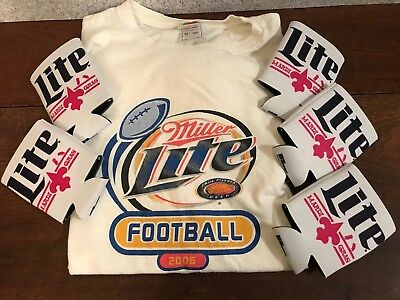 6950033a253 MILLER LITE MARDI GRAS PARTY PACK  1 T Shirt Football   5 Koozies Coozy Ale