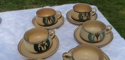 Honiton Pottery 4 cups & saucers Redvers Alan Caiger-Smith Aldermaston style