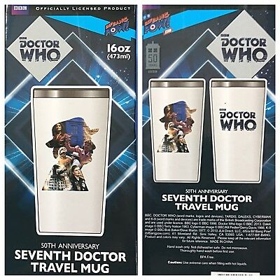 Doctor Who Travel Mug Coffee Cup 7th Doctor 50th Anniversary Sylvester McCoy