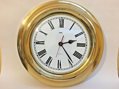 SMITHS Large Round Wall Clock Brass Frame, Quartz Movement, 34cm Diameter