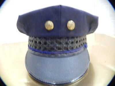 RARE antique Police Hat1930s  Blue8 point ORIGINAL w/TWO gold insignia studs