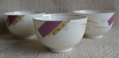 Vintage Shozan Mino-yaki 3 porcelain tea cups geometric pattern Japan Dm8,5xH5cm