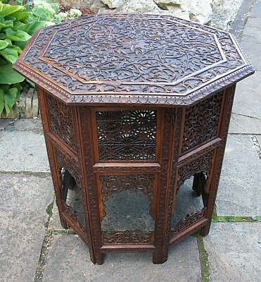 Large Antique  Octagonal Campaign Folding  Anglo/ Indian  Side Table