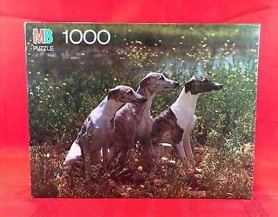 Vintage MB Puzzle Whippet Dogs Sealed Box 4091-16 Jigsaw 1989 Milton Bradley