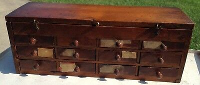 Antique Oak 12 Drawer Watchmaker Small Cabinet Watch Parts