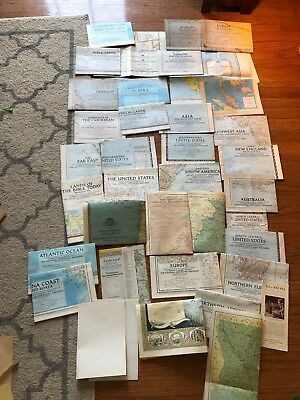 LOT OF VINTAGE 1940s-1950s Mostly NATIONAL GEOGRAPHIC MAP INSERTS