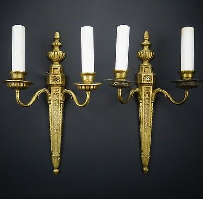 Vintage Antique Pair of Solid Brass 2 Arm Electric Candle Sconces Candelabras