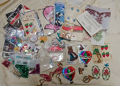 Vintage LOT SEWING APPLIQUES SEQUINS EMBROIDERY OTHER ITEMS Craft Sew
