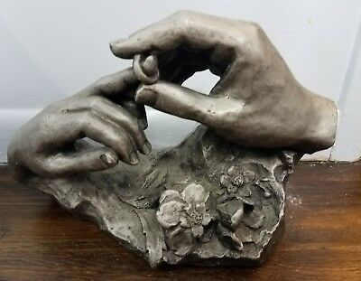 David Fisher Sculpture THE RING by Austin Productions Signed 1980 Wedding Hands