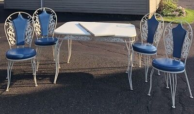 Vtg 5 pc Wrought Iron Dinette Table Chairs Scroll Work Antarenni EUC BROOKLYN NY