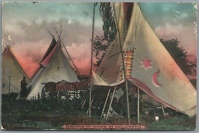 Indians At Home In Oklahoma - H.h. Clarke Hand-Colored Photo Postcard