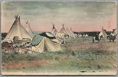 Ponca Indian Camp On 101 Ranch, Oklahoma, Teepee,  Hand-Colored Postcard