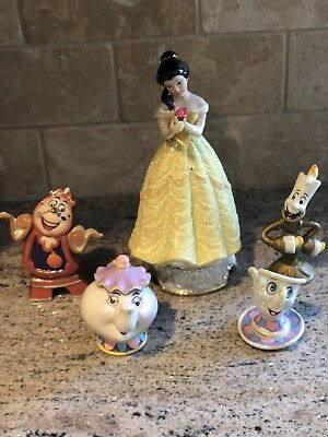 Rare DISNEY  BEAUTY AND THE BEAST Belle Mrs Potts Chip Lumiere Cogsworth Ceramic