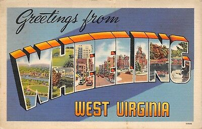Wheeling West Virginia Large Letter including lot of 4 postcards