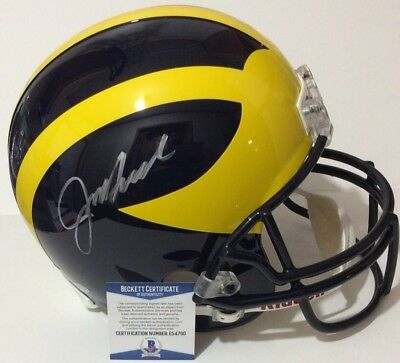 5bcd2875a7e Jim Harbaugh Michigan Wolverines Signed Auto Full Size Helmet Beckett Bas  Coa
