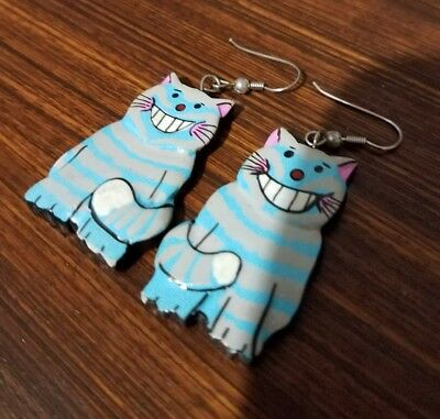 Blue Cat Earrings Cheshire Cat Wooden