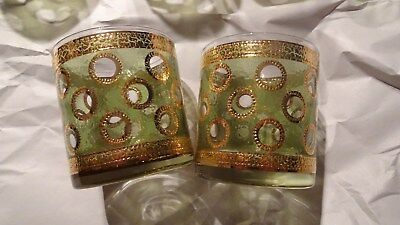 8 Bar glass Old Fashioned Green Encrusted Gold Mid Century