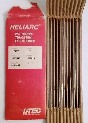 "L-TEC Heliarc 2% Thoria Tungsten Electrodes 1/16""X7 Qty 10 Ground Finish"