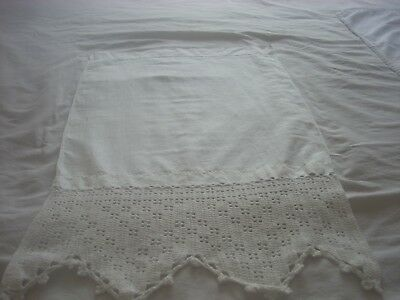 White cotton hand towel with Crochet lace accent 100% cotton