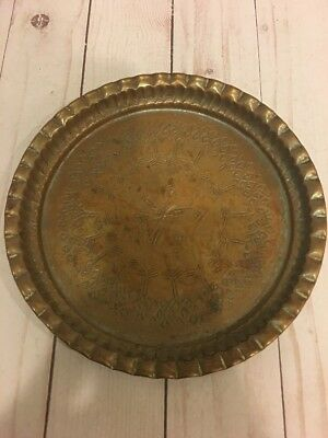 Vintage Solid heavy Etched Design Copper Plate Wall Hanging 7.5'' Round Egypt.