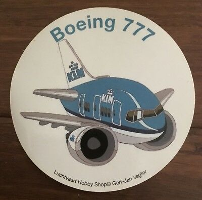 "Nice! KLM Royal Dutch Airlines Boeing 777 Sticker Decal 4"" Excellent Shape!"