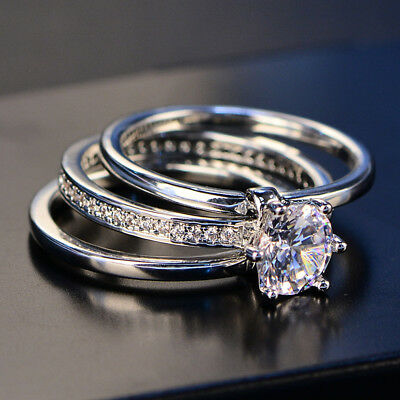 Three Rings Set Prong Set Never Loss Stone Women's Wedding Engagement Ring R91