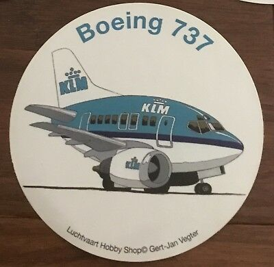 "New! KLM Royal Dutch Airlines Boeing 737 Sticker 4"" Decal"