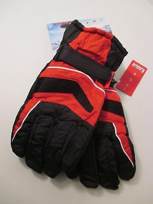 MENS TRUFIT Black Red Warm Insulated Waterproof Winter Ski Gloves~One Size~XL