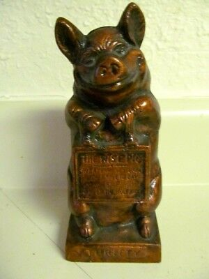 """Vintage Reproduction HUBLEY THRIFTY THE WISE PIG Coin Bank- 6.5""""- EUC"""