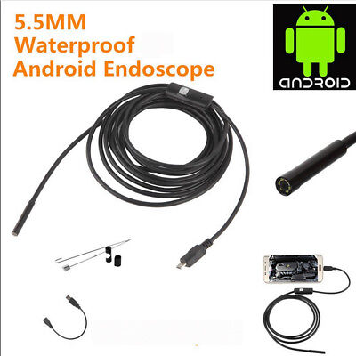 Endoscope 5.5mm Inspection Camera For Android PC Laptop Borescope Waterproof LED