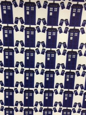 Dr Who Tardis- PU Leather -Faux Leatherette - Bow Making Fabric *20 x 34cms